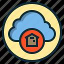 botton, cloud, data, home, online, web icon