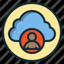 botton, cloud, data, human, internet, web icon
