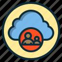 botton, cloud, data, human, internet, online, web icon