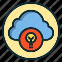 botton, cloud, data, database, idea, lamp, light