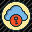 botton, cloud, internet, key, storage, web icon