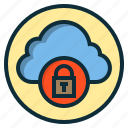 botton, cloud, key, lock, protection, safety icon