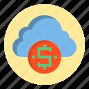 botton, cloud, dollar, sign, web icon