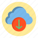 botton, cloud, download, web icon
