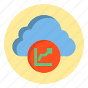 botton, cloud, data, graph icon