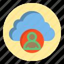 botton, cloud, human, web icon