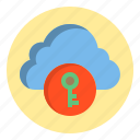botton, cloud, key, web icon