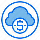 botton, cloud, dollar, sign, web icon