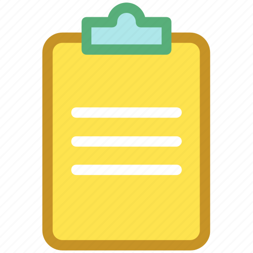 clipboard, clipboard list, document, report, text sheet icon