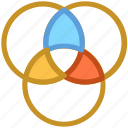 affiliate, circles, design, intersection, overlap icon