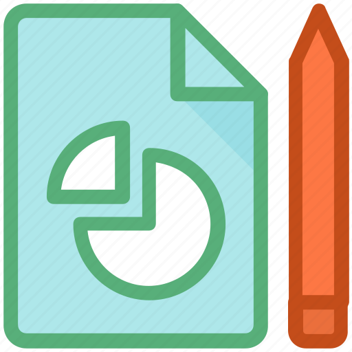 business report, financial report, graph report, paper, pie chart icon