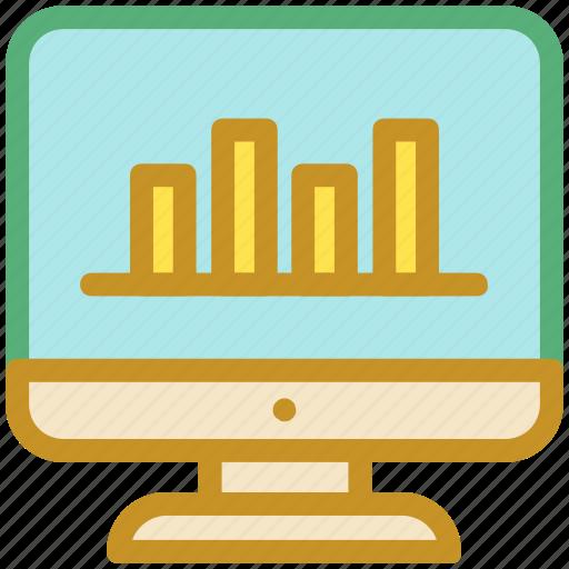 analytics, chart, graph, monitor screen, statistics icon