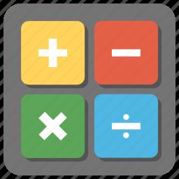 accounting, calculation, calculator, calculator keys, mathematics, statistics icon