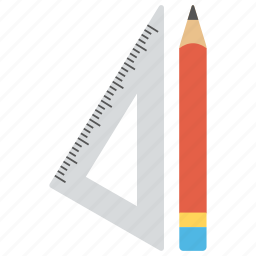 architectural tools, drafting tools, geometrical tools, pencil and set square, stationery icon