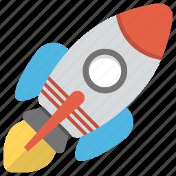 flying rocket, missile, rocket, rocket launch, spaceship icon