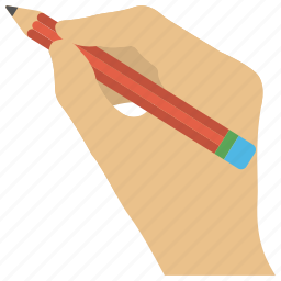 content writer, hand holding pencil, handwriting, script, writer icon