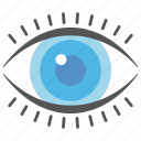 eye, look at, monitoring, open eye, view icon