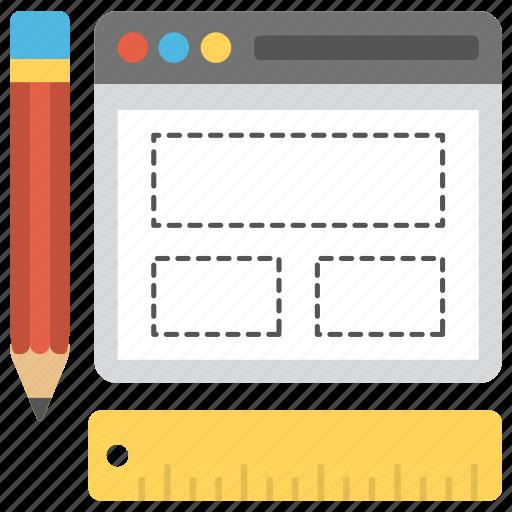 web design blueprint, web layout visual design, website mockup, website prototype, website wireframe icon