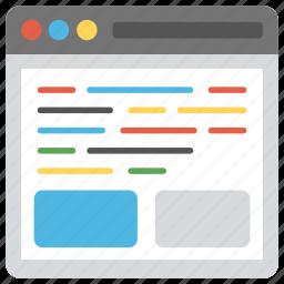 html, programming interface, source code, source page, web development icon