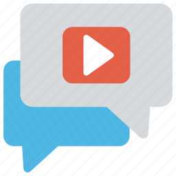 live chat, online communication, video chat, video message, virtual communication icon