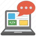 chat software, computer instructions, formal language, messaging software, programming language icon