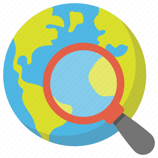 global search, globe with magnifier, internet marketing, internet search symbol, search concept icon