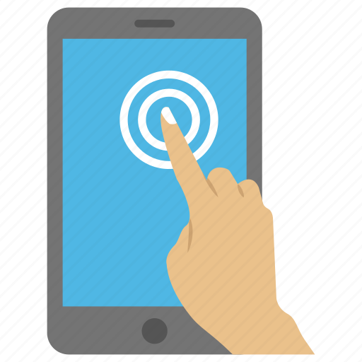 mobile interface, mobile phone operating, mobile usage, smartphone, user touches the mobile screen icon