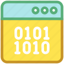 binary, browser, coding, development, source code icon