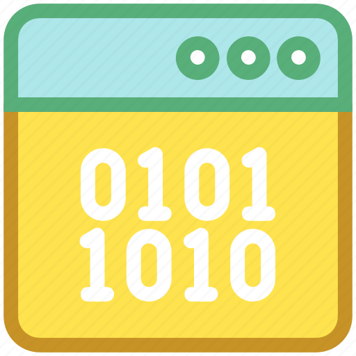 binary, browser, coding, development, source code icon
