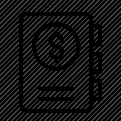 diary, dollar, icon icon