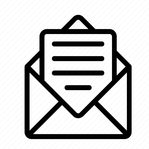 envelope, mail, open, vector icon