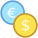 coins, currency, dollar, euro, money