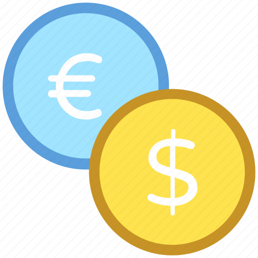 coins, currency, dollar, euro, money icon