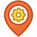 cogwheel, gps setting, location setting, map pin icon