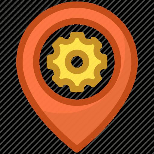 cogwheel, gps setting, location setting, map pin icon