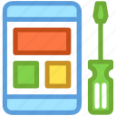 mobile development, mobile phone, mobile repair, mobile service, screwdriver icon