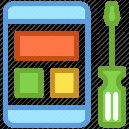 mobile development, mobile phone, mobile repair, mobile service, screwdriver icon