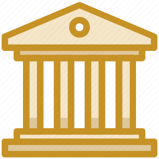 bank building, building, building columns, court, real estate icon