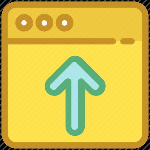 arrow, internet uploading, uploading, web page, website icon