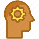 brain, brainstorming, gear, intelligence, thinking icon