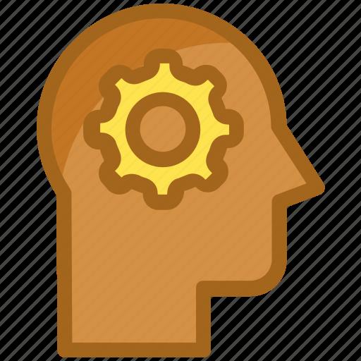 brain, brainstorming, gear, intelligence, thinking icon
