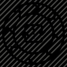 chart, circulation, repetation, wheel icon