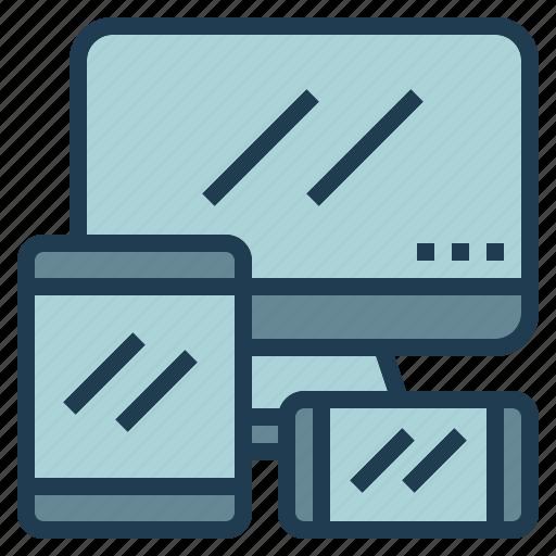 design, mobile, pc, responsive, web, website icon