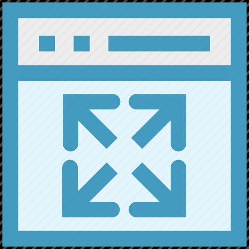 arrows, blog, expand arrows, page expand, web, web arrows, website icon