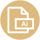 adobe, ai, ai file, file, format, illustrator, vector format icon