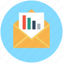 business plan, business report, graph report, open envelope, statistics icon