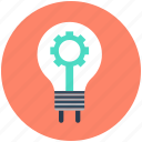 bulb, cogwheel, gear, lightbulb, vision icon