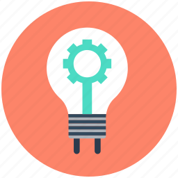 bulb, cogwheel, gear, lightbulb, vision icon
