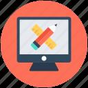 computer graphics, paintbrush with pencil, web design, web designing icon