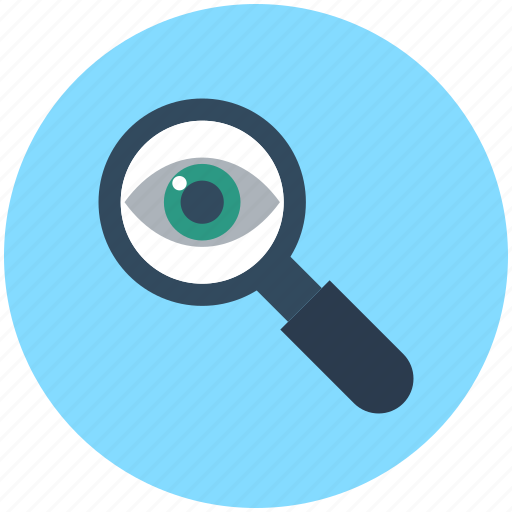 exploration, eye, magnifier, magnifying glass, search icon